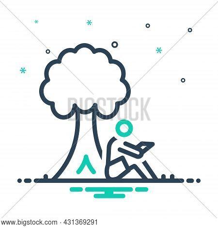 Mix Icon For Read-under-tree Read Under Tree Book Education Campus Lonely Garden Branch Encyclopedia