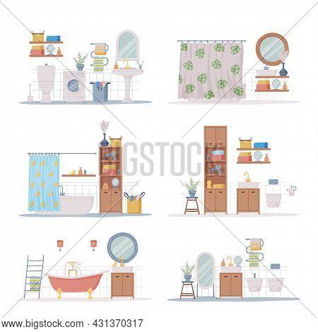 Bathroom Or Washroom Interior With Bathtub, Wash Basin And Mirror With Objects For Personal Hygiene