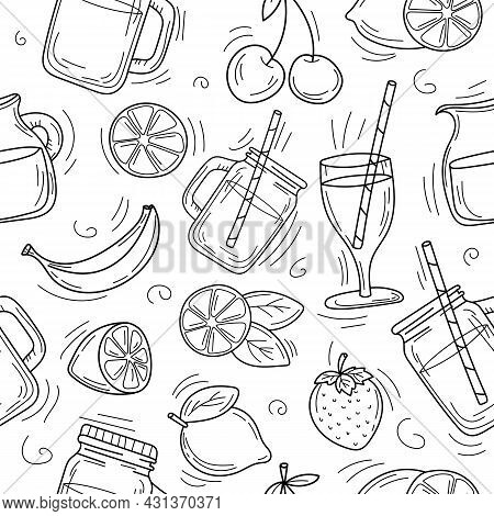Cute Cartoon Hand Drawn Background Of Summer Cocktails And Lemonade. Doodle Summer Background. Black