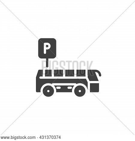 Bus Parking Sign Vector Icon. Filled Flat Sign For Mobile Concept And Web Design. Bus Parking Zone G