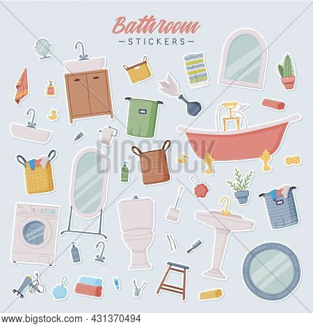 Bathroom Or Washroom Stickers With Bathtub, Wash Basin And Mirror With Objects For Personal Hygiene