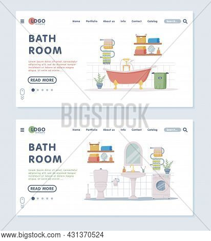 Landing Page With Bathroom Or Washroom Interior Containing Bathtub, Sink And Washing Machine Vector
