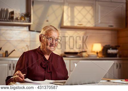 Senior Citizen In Glasses Working At Laptop