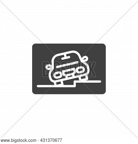 Car Parking Zone Vector Icon. Filled Flat Sign For Mobile Concept And Web Design. Parking Area Glyph