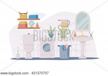 Bathroom Or Washroom Interior With Sink, Washing Machine And Toilet Bowl Vector Illustration