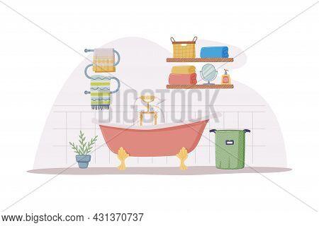 Bathroom Or Washroom Interior With Bathtub, Towel Rail And Laundry Basket Vector Illustration
