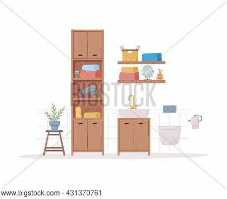 Bathroom Or Washroom Interior With Cabinet For Personal Items And Sink With Tap Vector Illustration