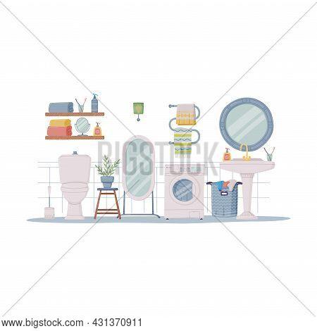 Bathroom Or Washroom Interior With Toilet Bowl, Washing Machine And Sink Vector Illustration