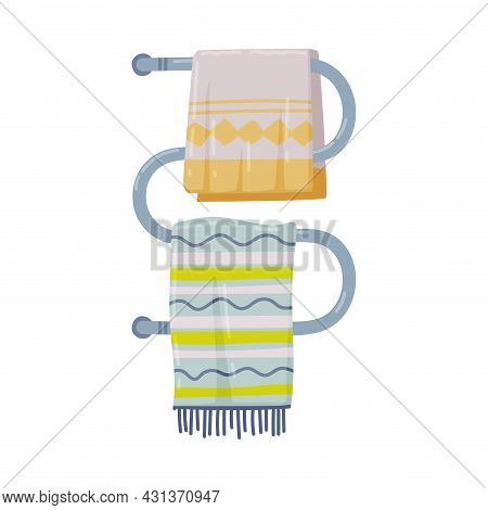 Towel Rails Radiator Or Heated Towel Rail With Hanging Towels Vector Illustration