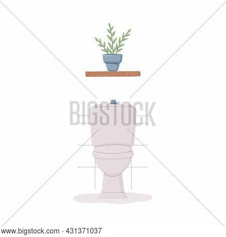 Bathroom Or Washroom Interior Toilet Bowl And Shelf With Houseplant Vector Illustration