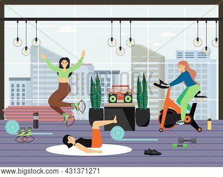 Fitness Gym. Young Women Riding Stationary Bike, Doing Kangoo Aerobic And Pilates Exercises, Flat Ve
