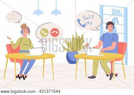 Call Center Concept. Support Staff Answers Calls And Messages, Resolving Customer Issues, Help And A