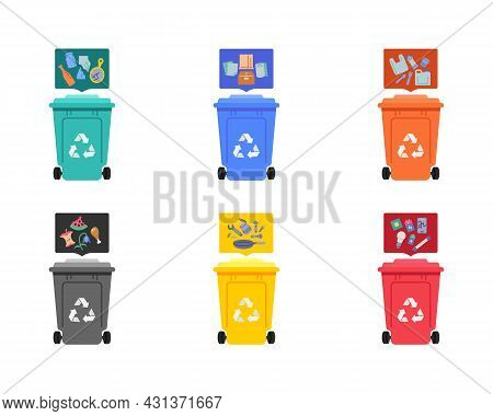 Garbage Sorting Elements Collection, Flat Icons Set, Colorful Symbols Pack Contains - Plastic Waste