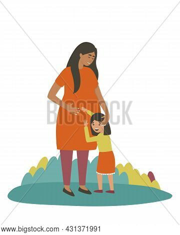 Daughter Hugs The Belly Of A Pregnant Mom. The Girl Is Waiting For A Brother Or Sister Who Will Be B