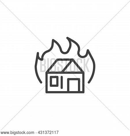 Burning House Line Icon. Linear Style Sign For Mobile Concept And Web Design. House And Fire Flame O