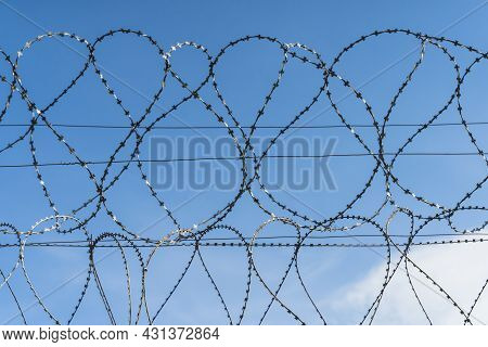 Barbed Wire Against The Blue Sky. Coils Of Steel Barbed Wire On The Fence Of The Forbidden Territory