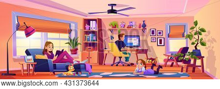 Workplace At Home In Living Room, Home Interior And Design Of Space For Work. Family Spending Weeken