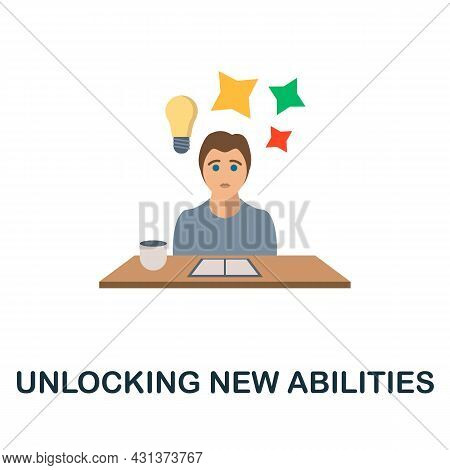 Unlocking New Abilities Flat Icon. Colored Sign From Personality Collection. Creative Unlocking New