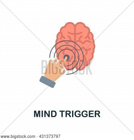 Mind Trigger Flat Icon. Colored Sign From Personality Collection. Creative Mind Trigger Icon Illustr