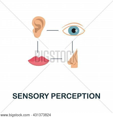 Sensory Perception Flat Icon. Colored Sign From Personality Collection. Creative Sensory Perception