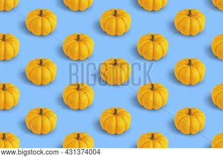 Repetitive Pattern With Orange Pumpkins On White Background, 3d Rendering. Minimal Vegetable Backgro
