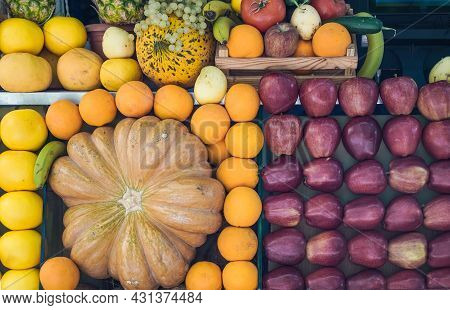 Fruit At The Street Farmers Market. Fresh Summer Fruits For Juice And Smoothies. Summer, Vitamins, H