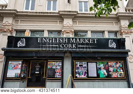Cork, Ireland- July 14, 2021: The Sign At The Main Entrance To The English Market Cork