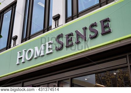 Cork, Ireland- July 14, 2021: The Sign For Home Sense Store In Cork