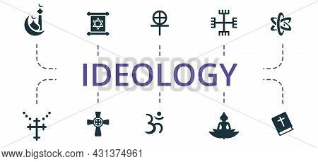 Ideology Icon Set. Contains Editable Icons Theme Such As Catholicism, Hinduism, Paganism And More.
