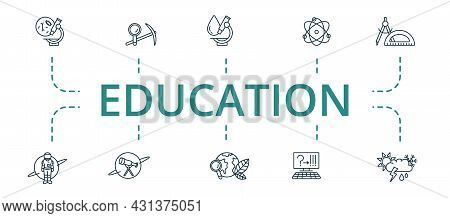 Education Icon Set. Contains Editable Icons Theme Such As Archeology, Quantum Physics, Meteorology A