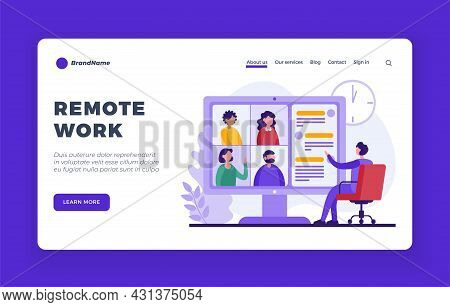 Remote Online Work. Team Conference On Business Project In Digital Format. Training And Webinar. Web