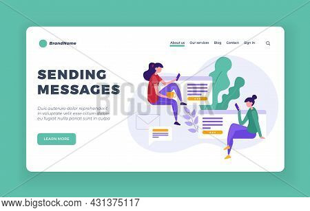 Sending Online Messages. Social Web Communication At Work And With Friends. Mobile Chats And Apps Fo