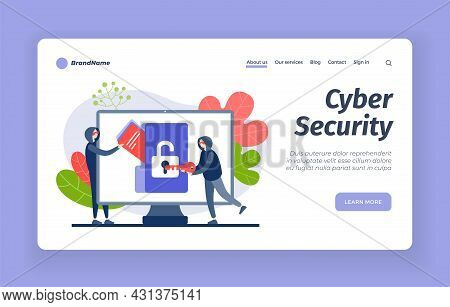 Cybersecurity From Hackers. Digital Hacking Protection With Blocking. Counteraction Online Criminals