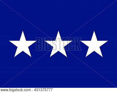 The Flag Of A Usa Airforce Lieutenant General Of A Tri Of White Stars Set Over A Red Background