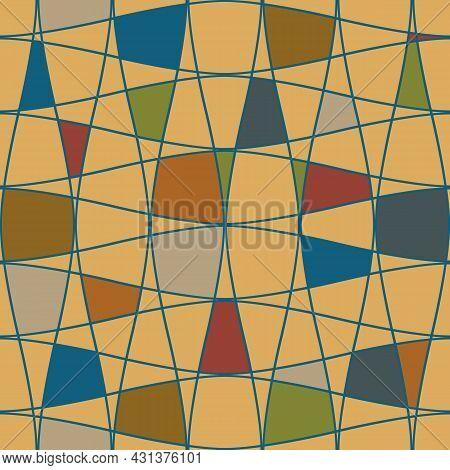 Abstract Mosaic Grid Seamless Vector Pattern Background. Modern Bauhaus Style Art Diagonal Geometric