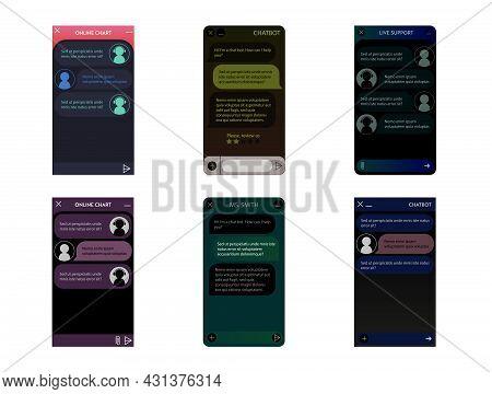 Chatbot Windows Set. Dark Night Mode. User Interface Of Application With Online Dialogue. Conversati