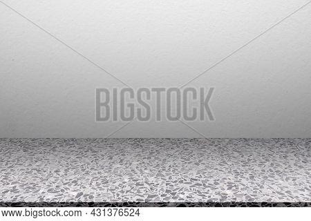 Empty Gray Studio Room Marble Floor Background. Cement Shelf Interiors Montage Display Backdrop. Bla