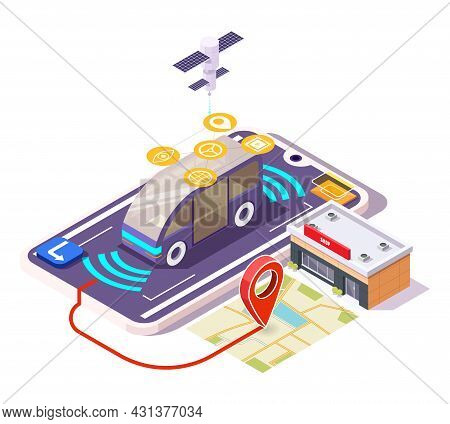 5g Smart Car On Smartphone Screen, City Map With Location Pin, Shop Building, Flat Vector Isometric