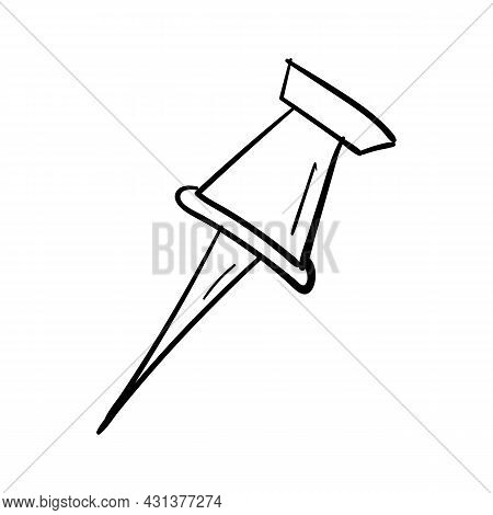 Hand Drawn Pushpin Icon In Doodle Style Isolated.