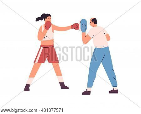 Person Boxing, Training To Punch. Woman Hitting Handheld Pad With Fist In Glove At Box Workout With