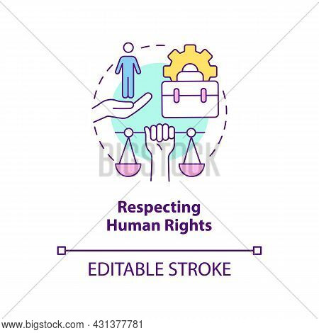 Respecting Human Rights Concept Icon. Corporate Social Responsibility Abstract Idea Thin Line Illust