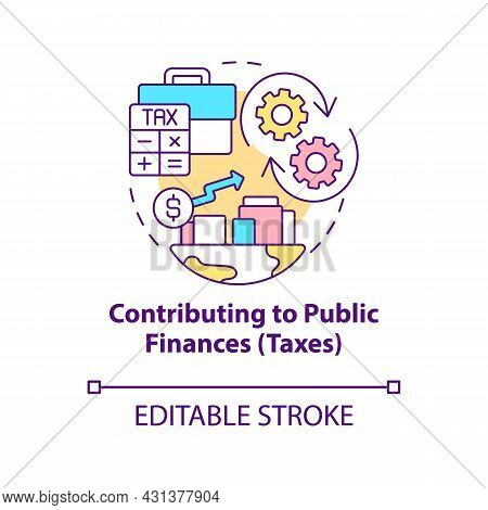 Contributing To Public Finances Concept Icon. Paying Taxes Abstract Idea Thin Line Illustration. Cor