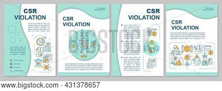 Corporate Social Responsibility Violation Blue Brochure Template. Flyer, Booklet, Leaflet Print, Cov