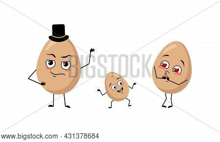 Family Of Cute Egg Characters With Joyful Emotions, Smile Face, Happy Eyes, Arms And Legs. Mom Is Ha