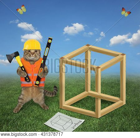 A Beige Cat Carpenter In A Construction Helmet With An Axe And A Level Is Building An Impossible Cub