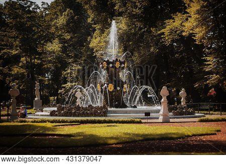 Saint Petersburg, Russia, July 2021: Crown Fountain In The Summer Garden Of St. Petersburg.