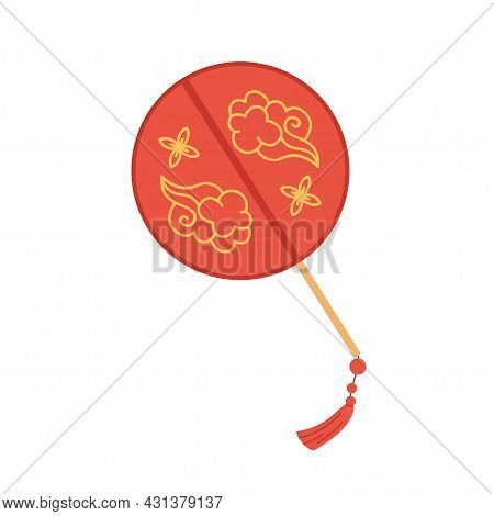 Chinese Hand Fan Of Round Shape. Asian Handheld Silk Accessory With Gold Ornament And Fringe. Tradit