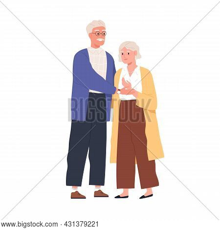 Happy Senior Love Couple Of Old Man And Woman. Elderly People Standing Together. Portrait Of Grandfa