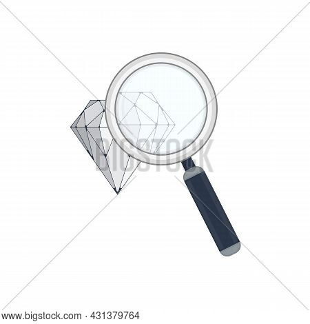 Diamond With Magnifying Glass. Crystal Symbol. Brilliant Illustration On A White Background. Vector