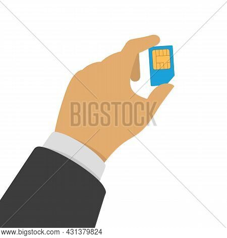 Sim Card In Hand. Mobile Cellular Phone Sim Card Chip With Shadow Isolated On Light Background. Vect